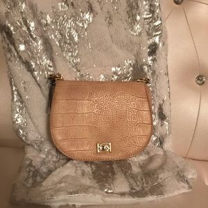 bebe Bags - Bebe Michelle Pink Mini Saddle Chain Crossbody